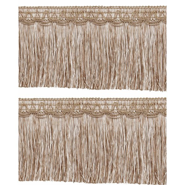 Bullion Fringe on Fancy Braid - BEIGE 12.5cm