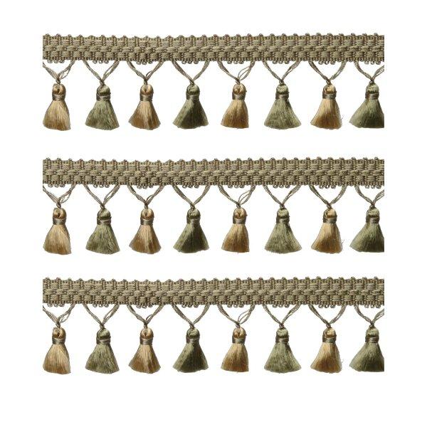 Fringe Tassels - Antique Green / Gold 2cm Price is per metre.