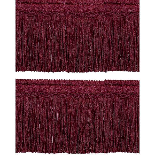 Bullion Fringe on Fancy Braid - Red Wine 12.5cm (Prices per metre)