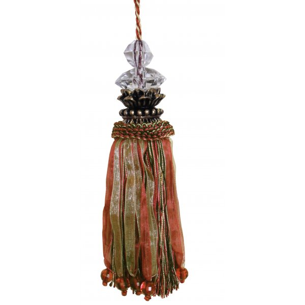 Tassel with Gold Top and Faceted Beads - Dark Pink / Olive 18cm
