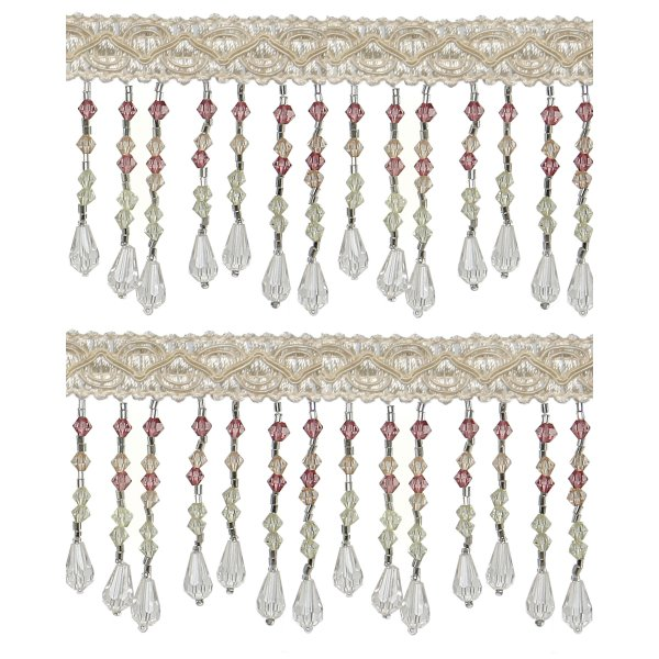 Fringe Beading -  6.4cm White (Price is per metre)