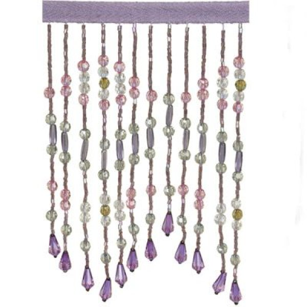 Fringe Beading with flower drop - PURPLE/PINK 15.5cm