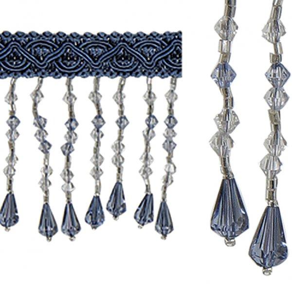 Fringe Beading - Pale Blue Crystal 6.4cm