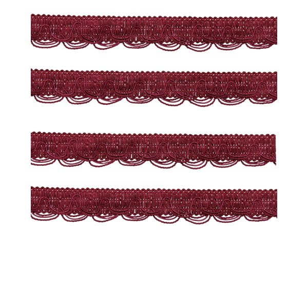 Scalloped Looped Braid - RED WINE 28mm