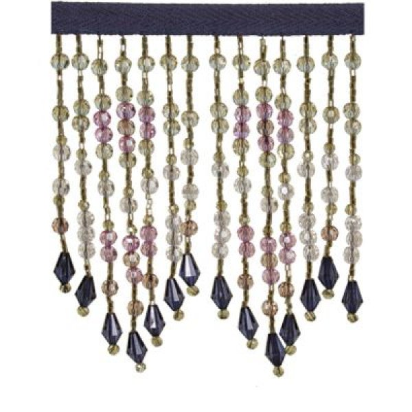 Fringe Beading - Navy Blue Gold Ruby 10.5cm (Price is per metre)