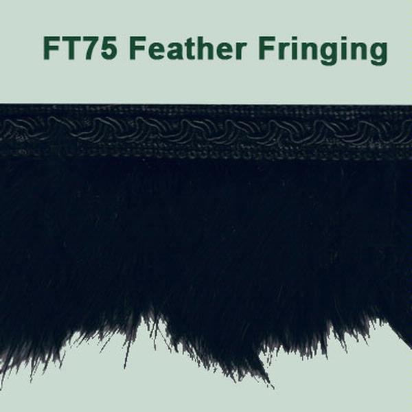 Fringe Feathers with Braid - BLACK 8cm