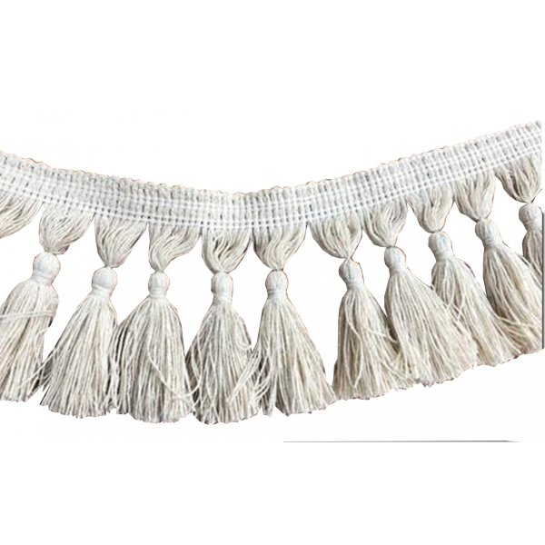 Natural Cotton Tassel Fringing - CREAM 9.5cm