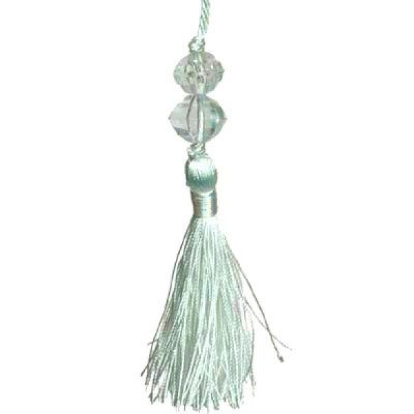 Large Tassel with Bead - Silver Blue 13.5cm