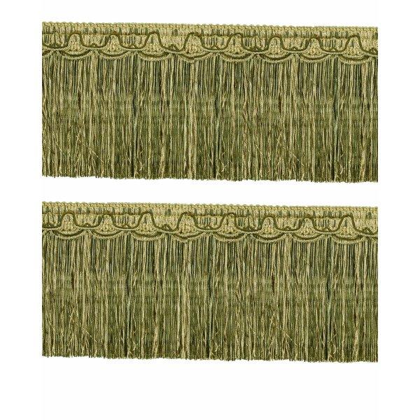 Bullion Fringe on Fancy Braid - Olive / Gold 12.5cm (Prices per metre)