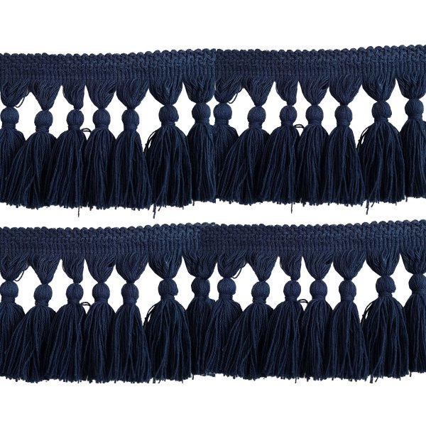 Natural Cotton Tassel Fringing - Navy Blue 9.5cm long price is per metre