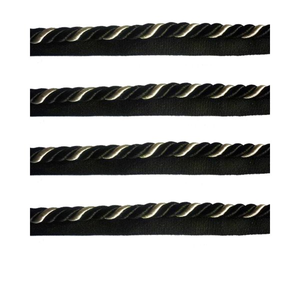 Piping Cord 2-Tone Twist on Tape - BLACK/SILVER