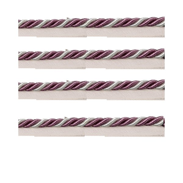 Piping Cord 2-Tone Twist on Tape - PURPLE/CREAM