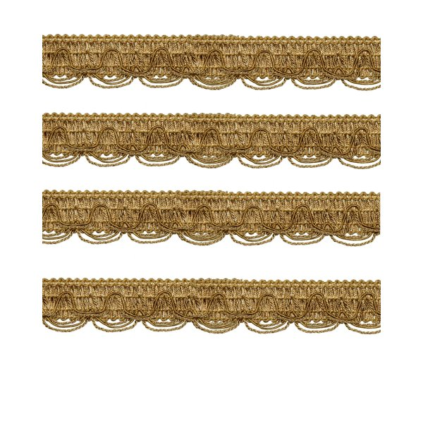 Scalloped Looped Braid - Gold 28mm (Price is per metre)