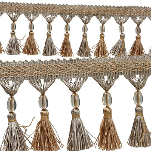 Fringe Tassels with Beads - Blue / Gold 7cm Price is per metre.