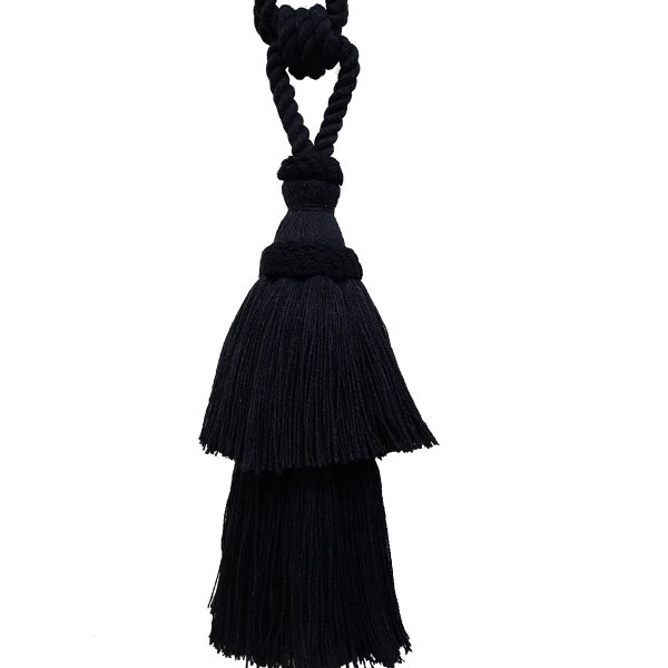 PAIR Natural Cotton Curtain Tie Back with tassel - BLACK 24 cm