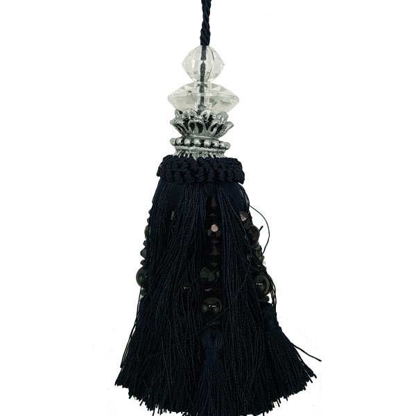 Tassel with Silver and Faceted Glass Top with beads - Black 19cm