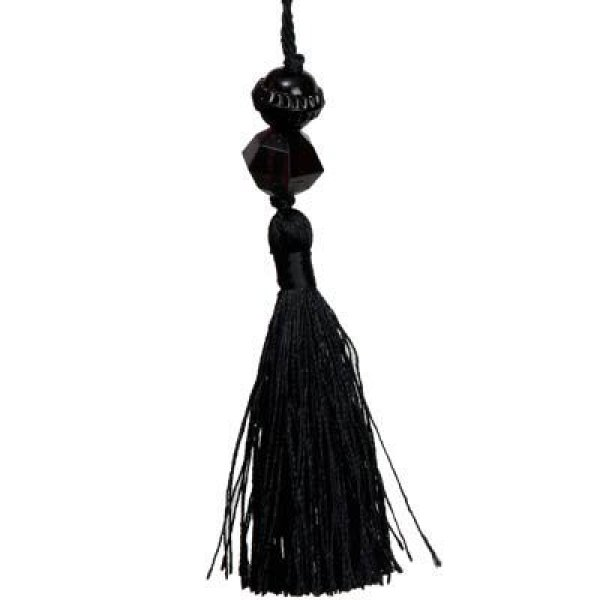 Large Tassel with Bead - Black 13.5cm