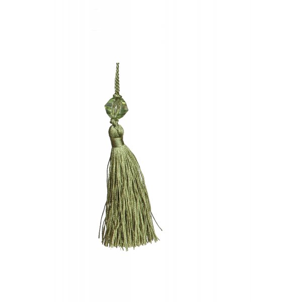 Small Tassel with Bead - Green 6.5cm