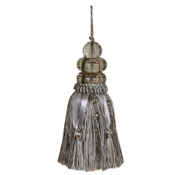 Tassel with Triple Beaded Top and ribbons - Beige 14cm