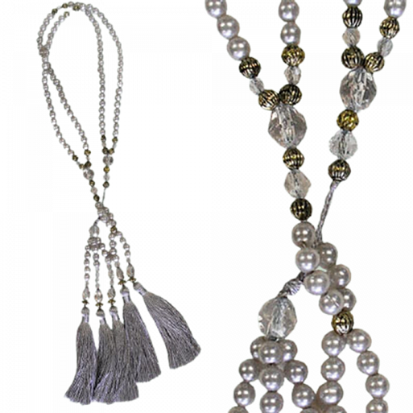 PAIR Curtain Tie Back Pearl Strand with tassels - French Silver 10cm ending