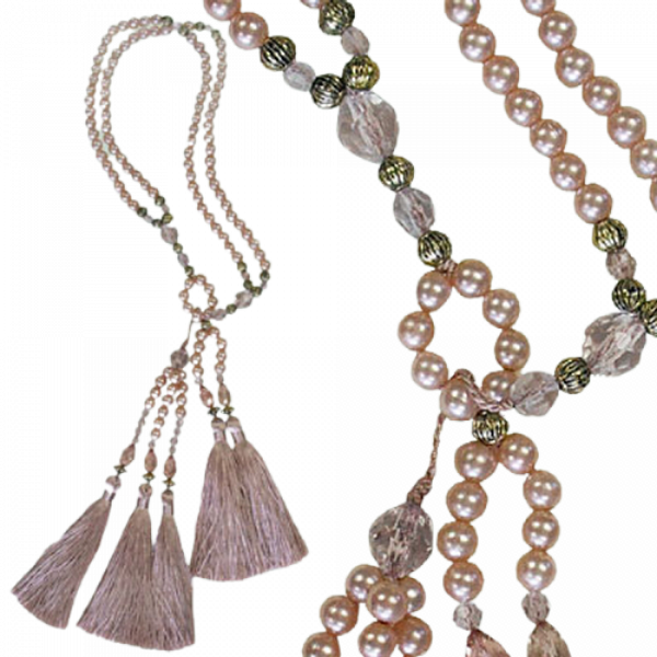 PAIR Curtain Tie Back Pearl Strand with tassels - Dusky Pink 10cm ending