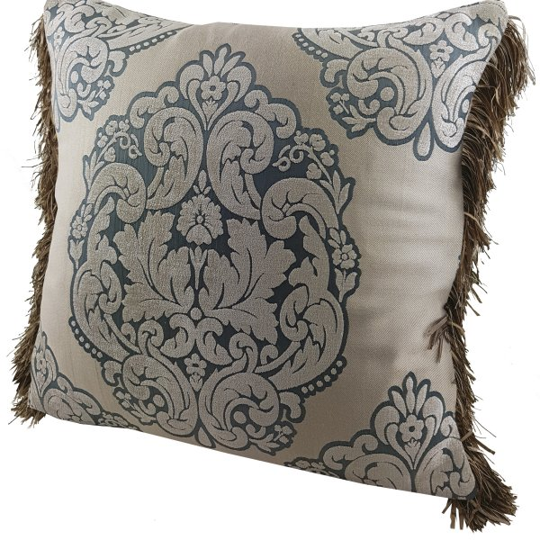 Chenille cushion cover 45cm x 45cm - French Sage Green / Taupe colour trimmed with matching ruche
