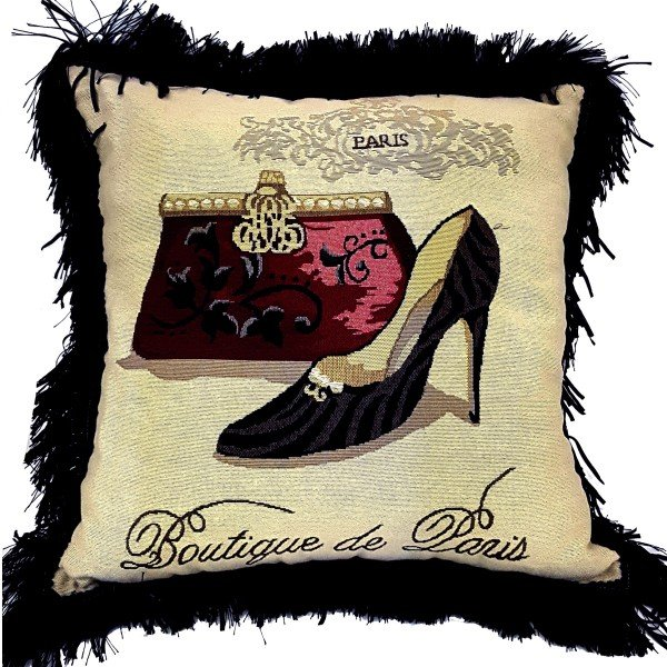 Jacquard cushion cover 45cm x 45cm - French Heel & Bag design trimmed with Black ruche