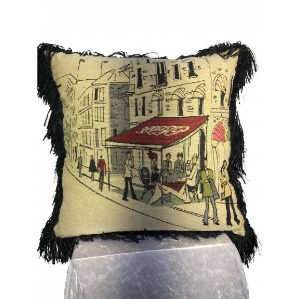 Jacquard cushion cover 45cm x 45cm - French Street Scene design trimmed with Black ruche