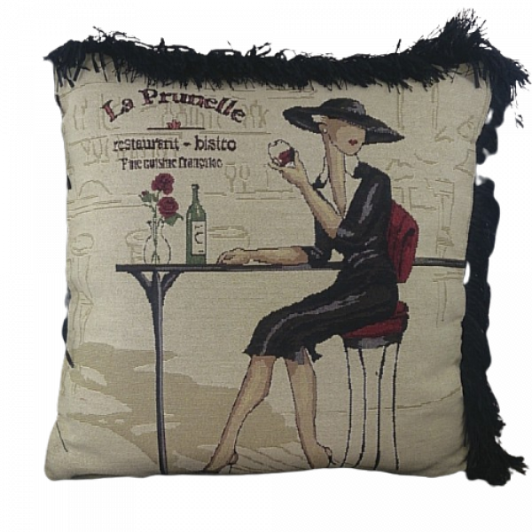 Jacquard cushion cover 45cm x 45cm - French Cafe design trimmed with Black ruche