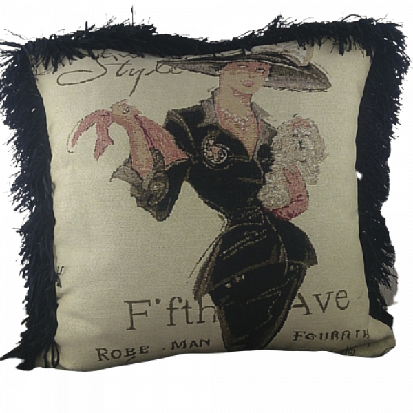 Jacquard cushion cover 45cm x 45cm - Fifth Avenue Lady design trimmed with Black ruche