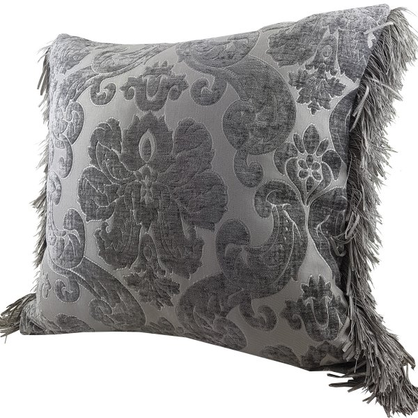 Chenille cushion cover 45cm x 45cm - French Silver colour trimmed with matching ruche