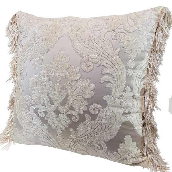 Chenille cushion cover 45cm x 45cm - French Cream / Silver colour trimmed with matching ruche