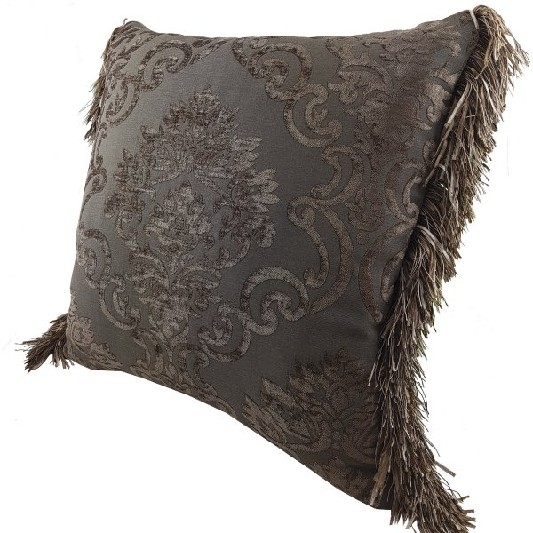 Chenille cushion cover 45cm x 45cm - French Chocolate / Brown colour trimmed with matching ruche