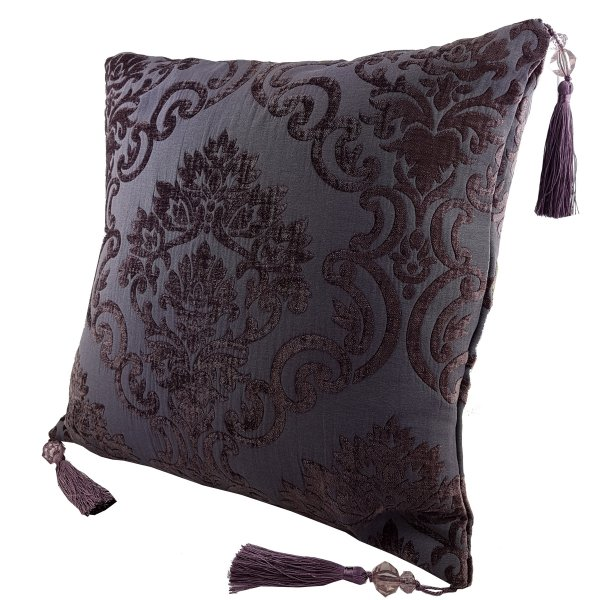 Chenille cushion cover 45cm x 45cm - Aubergine / Purple colour with matching tassels
