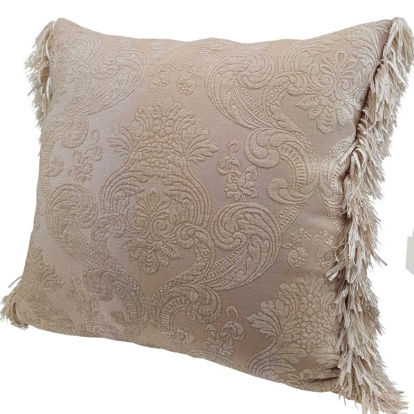 Chenille cushion cover 45cm x 45cm - French Creamy Gold colour trimmed with matching ruche
