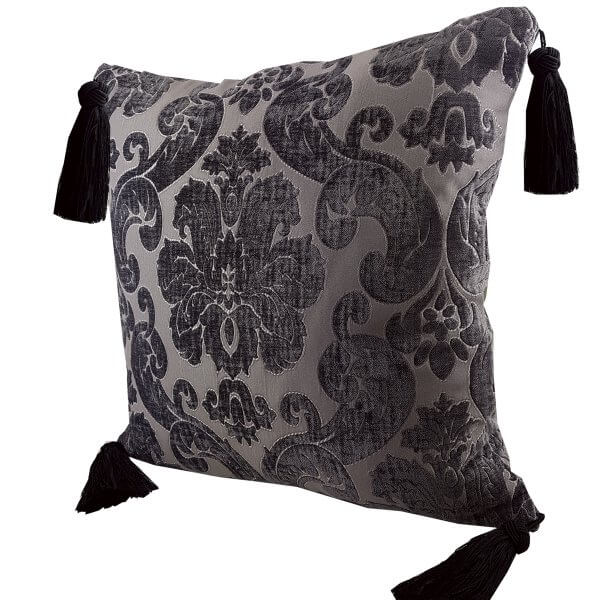 Chenille cushion cover 45cm x 45cm - French Silver / Aubergine colour with Black Turks Head tassels