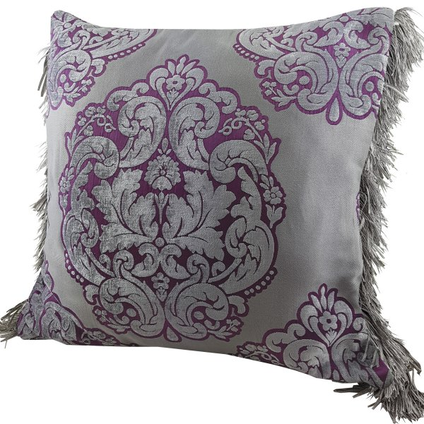 Chenille cushion cover 45cm x 45cm - French Fuchsia / Taupe colour trimmed with matching ruche