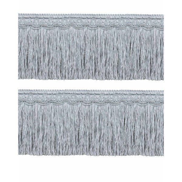 Bullion Fringe on Fancy Braid - French Silver Blue 12.5cm (Prices per metre)