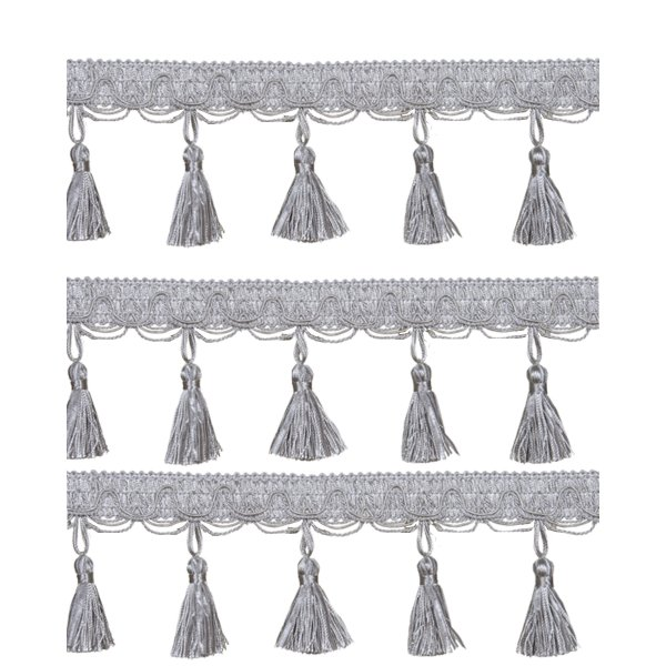 Fringe Tassels - French Silver 4.5cm price is per metre