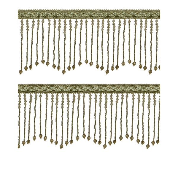 Fringe Beading with braid - Pale Green / Gold 10.5cm (Price is per metre)