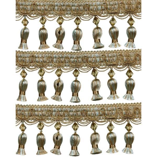 Fringe Acorn Tassels with Bead - Green / Gold 5 cm Price is per metre.