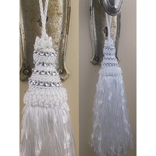 Tassel with Diamante Top - White 21cm