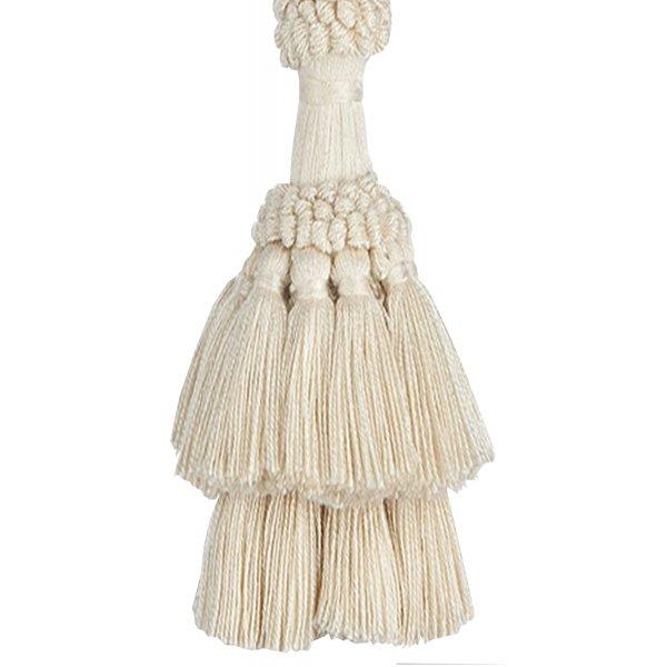 PAIR Natural Cotton Curtain Tie Back with tassel - CREAM 24cm