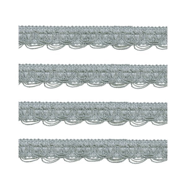 Scalloped Looped Braid - French Silver Blue 28mm (Price is per metre)