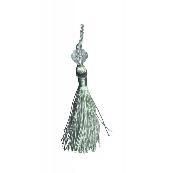 Small Tassel with Bead - Silver Blue 6.5cm