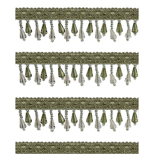 Short Fringe Beading - Antique Green Crystal 2.5cm (Price is per metre)