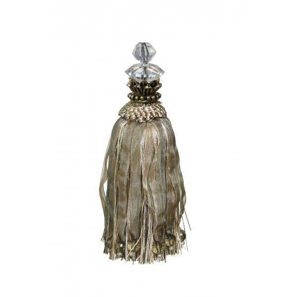 Tassel with Glass Bead in Tulip Top - Light Green / Gold 18cm