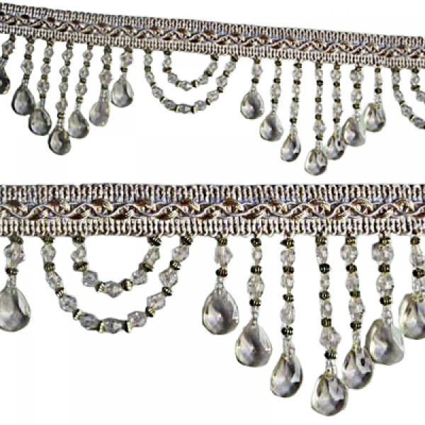 Fringe Beading - Clear Crystal 6cm (Price is per metre)