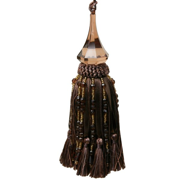 Tassel with Crystal Jeanie Drop and beads - Chocolate 17.5cm