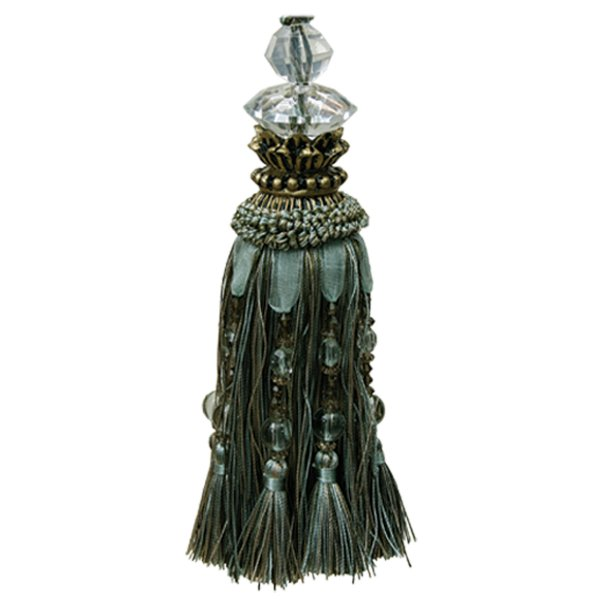 Tassel with Faceted Glass Top and Beads - Olive 18cm